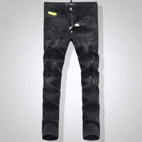 top distressed jeans großhandel-Top Euro Fashion Männer Schwarz Stretch Jeans Tidy Biker Denim Jean Farbe Spot Damage Slim Fit Distressed Cowboy Hosen Mann Gelb Metall Patch