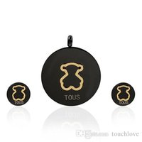 Wholesale jewelry black hand - TL Black&Gold Stainless Steel Earrings & Pendant Set Bear Jewelry High Quality Hand Made Original Design Popular Gift