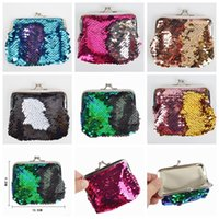 Wholesale evening bag online - Mermaid Sequin Coin Pocket Mermaid Magic Glitter Little Girls Purse Mini Wallets Handbag Fashion Evening Clutch Bag GGA754