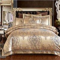 edredon bordado branco venda por atacado-Jacquard conjuntos de cama de cetim rei queen size 4 pcs bege / branco / ouro Bordado bedlinens capa de edredon lençol roupa de cama capa fronhas
