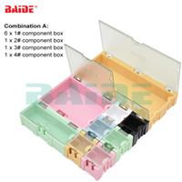 ingrosso recinzione contenitore di alluminio-9 pezzi / set scatola di immagazzinaggio componenti originale quadrato IC componenti scatole SMT SMD Wen tai scatole combinazione plastica custodia 100 set / lotto
