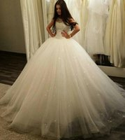Wholesale sparkle simple wedding dresses for sale - Group buy Sparkle Sheer Jewel Neck Ball Gown Wedding Dresses Sleeveless Sequin Lace Tulle Satin Plus Size Bridal Dresses Wedding Gowns