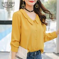 желтая цельная блузка оптовых-fashion women blouses 2018 long sleeves chiffon blouse shirt solid yellow causal top female blusa feminina shirt women 0876 40
