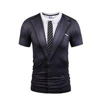falsificação de marca venda por atacado-Atacado-Mr.1991INC Marca Verão O Neck T-shirt Moda Falso Two Pieces Suit Style Impressão 3D Tops Tees Men mangas curtas engraçado camisetas