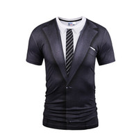 смешные футболки мужчина оптовых-Wholesale-Mr.1991INC Brand Summer O Neck T-shirt Fashion Fake Two Pieces Suit Style 3D Printing Tops Tees Men Short Sleeves Funny T Shirts