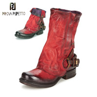 Wholesale knight belts for sale - Group buy Prova Perfetto Original Retro Style Real Leather Pleated Belt Buckle Mid Calf Boot Comfort Neutral Large Size Women Knight Boots