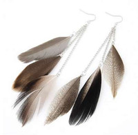 plumas de colores indios al por mayor-H: HYDE Indian Jewelry Boho Pendientes Colorful Long Feather Tassel Drop Ethnic Pendientes New Brincos Para Mujeres