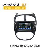 auto radios din gps al por mayor-Android 8.1 Octa Core reproductor de android de navegación gps para dvd en el coche con pantalla táctil gps para Peugeot 206 2000 2001 2002 -2008 estéreo para auto 2 din