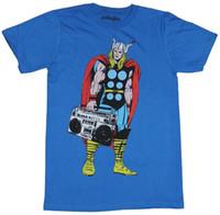 imagens roupa venda por atacado-Thor (Marvel Comics) T-Shirt Dos Homens-Thor Toting Uma Imagem Boombox Impresso Estilo Verão Tees Masculino Top Vestuário de Fitness Marca