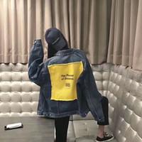 ingrosso giacca gialla denim giacca-BB Giallo Patch Denim Jacket Retro Street Hip Hop Vecchio allentato Confortevole Uomini e Donne Coppie Tide Coat HFWPJK075