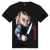 Wholesale Blending Stamp - 2018 New Style Men T-shirt 3D stamp to stereo Chucky pattern film Black T-Shirt High Quality Dry Fast 3D printing with Short Sleeves Cheap