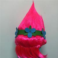 diadema de amapola al por mayor-10 unids DHL Trolls Poppy Cosplay Party Wig Party Supplies Poppy Pink peluca para las mujeres de Halloween con la venda de la flor + etiqueta engomada del tatuaje