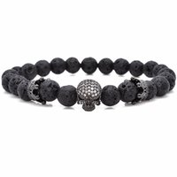Wholesale Brand Trendy Natural Beads Strand Bracelet Micro Pave CZ Skeleton Skull Black Lava Rock Stone Energy Men European Buddha Jewelry