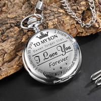chaîne de montre mens achat en gros de-Quartz Pocket Watch à mon fils le plus grand papa collier montres pour hommes cadeau de fête des pères hommes présent reloj de bolsillo