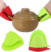 handschuhhalterhalter großhandel-Küche Silikon Hitzebeständige Handschuhe Clips Isolierung Antihaft Anti-Rutsch-Topf Schüssel Halter Clip Kochen Backofen Handschuhe