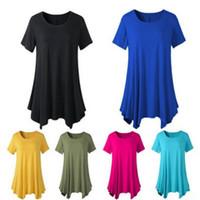 Wholesale girls long sleeve ruffle tee - Female Summer Long Tee Women Unregular Piping T-shirt Scoop Neck Short Sleeve Girl T Shirt Vestidos