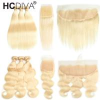 13 schließung großhandel-Peruanisches Jungfrau-Haar gerade / Körper-Welle mit 13 * 4 Ohr, zum sich von Frontal mit Baby-Haar 613 blondem Haar 3 Bündel mit 4 * 4 Spitze-Schließung zu ohren