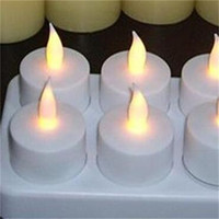 Wholesale tea lights candles wax online - New Creative Led Light Rechargeable Candle Lights Small Tea Wax Smokeless Candlelight Lamp Seats Simulation Candles High Quality sh aa