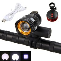 Wholesale bycicle led lights - USB Rechargeable Lamp 15000LM XM-L T6 LED Bike Bycicle Light Zoomable Torch 3 Modes Cycling Headlight with Red Laser Rear Light