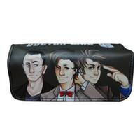 kalem kalem cüzdanları toptan satış-Sıcak Tasarımcı Doctor Who Kalem Çanta Kılıfları Deri Organizatör Çanta Öğrencileri Kırtasiye Çanta Hediyeler Çocuklar Oğlan Kız Anime Kalem Cüzdanlar
