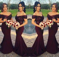 corar vestidos de noiva sereia venda por atacado-Sparkly Borgonha Lantejoulas Sereia Vestidos de Dama de Honra 2018 Fora do Ombro Melhores Vestidos de Festa de Casamento Blush Rosa Madrinha de Vestidos