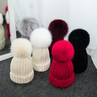 Wholesale mink hat grey - Wholesale- 100% natural Fox fur pompon hats women winter caps with fox ponpon pompom big ball pompon fur Beanies female mink knitted caps