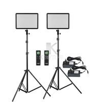 kits de iluminación de video al por mayor-2x Godox Ultra Slim LEDP260C 256pcs LED Panel de luz de video Kit de iluminación + 2m Soporte + Controlador 30W 3300-5600K Brillo regulable
