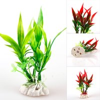 decoraciones de acuarios de colores al por mayor-New Colorful Plastic Aquarium Decorations Multicolor Artificial Plants Fish Tank Water Grass Flower Ornament Decor Landscape