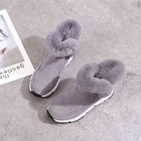 ingrosso stivali neri della piattaforma invernale del cuneo-Inverno Faux Fur Women Shoes Donna Snow Boots Ankle Warm Platform Wedge Moda Femme Ladies Boot Black Footwear