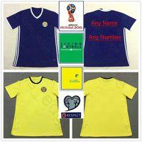 camisetas de fútbol amarillo marrón al por mayor-2018 Escocia World Cup Soccer Jerseys 39 QSTURM 10 MARTIN 8 BROWN 11 RITCHIE 13 FORREST Camiseta de fútbol personalizada azul amarillo.