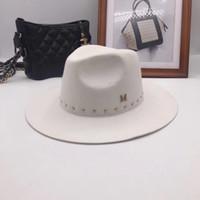 ingrosso fedora grigio-L'edizione del Han M cappello di lana bianco standard Fedoras New England autunno inverno cappelli berretto rivetto marea maschi signore