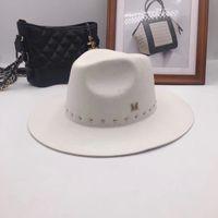 han kapağı toptan satış-Han edition M standart beyaz Fedoras yün şapka New England sonbahar kış perçin kap gelgit erkek bayan şapkaları
