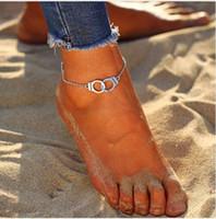 ayak kelepçeli toptan satış-20 adet / grup Kadınlar gümüş Zincir Kelepçe Dostluk Ayak Bileği Halhal Bilezik Sandal Plaj Ayak Takı yeni