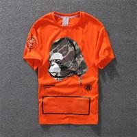 ingrosso maglietta di disegno di stampa della maglietta-2018 New Fashion Casual T-Shirt Abbigliamento uomo Camicia di design Nero Bianco Arancione Miscela di cotone Girocollo Manica corta Stampa fumetto Taglia S-XXL