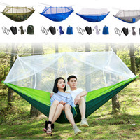 Wholesale portable folding camp beds for sale - 260 cm Portable Hammock With Mosquito Net Single person Hammock Hanging Bed Folded Into The Pouch For Travel Camping T1I217