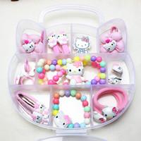 kit de joyas gatito al por mayor-Joyería de la manera fija FANRAR Nueva Hello Kitty rosa anillos fijados collar pulsera pendientes del partido del bebé del regalo de cumpleaños linda de pelo de las muchachas