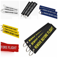 Wholesale wholesale aviation - new Keychain REMOVE BEFORE FLIGHT Embroidered Canvas Color Optional Keyring Luggage Tag Label Aviation Fashion Accessories GGA233 200PCS