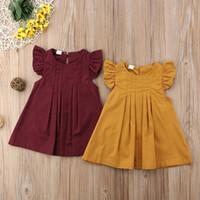 butik tutu toptan satış-Sarı Bordo Bebek Kız Yaz Elbise Rahat Prenses Parti Tutu Elbiseler Çocuk Giysileri Düz Renk Kısa Tarzı Elbise Çocuk Butik