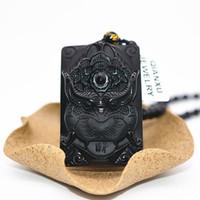 siyah yeşim taş kolye toptan satış-QIANXU Siyah Obsidyen Pixiu Ejderha Kolye Kolye Yeşim Kolye Yeşim Takı Güzel Takı