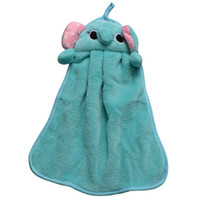 Wholesale Cute Beach Towels Wholesale - Children Kids Beach Hanging Kitchen Bath Room Absorbent Dry Hands Cute Lovely Knitted Flocking Soft Microfiber Fabric Hand Towel