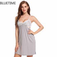 Wholesale Xl Nightgowns - Sexy Women Summer Nightgown Night Dress Nightwear Lady Adjustable Spaghetti Straps Lace Nightie Sleepshirts Nuisette 30A