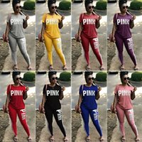 Wholesale girls red tracksuits - Love Pink Women Tracksuit Jogger Outfit Pink Letter Sportswear Short Sleeve T Shirt Tops + Leggings Pants 2PCS Set Girls Sport Suit Clothes