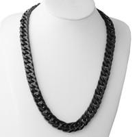 siyah kaldırım link zincir kolye toptan satış-Adam Siyah Paslanmaz Çelik Kolye Erkekler Takı 15mm Geniş 22 inç Küba Curb Link Zinciri Kolye-ücretsiz kargo