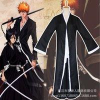 ingrosso ichigo kurosaki cosplay-Anime BLEACH Morte Kurosaki ichigo Cosplay Costume Shinigami Death Kimono Set completo Black Fitted