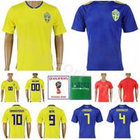 219b25c16 Wholesale sweden football shirt for sale - 2018 World Cup Sweden Soccer  Jersey Men IBRAHIMOVIC BERG