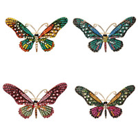 Wholesale butterfly crystal brooch resale online - 4 Colors Cute Animal Butterfly Brooch pin Mix Color Austrian Crystal Rhinestone Brooches for Women Fashion Jewelry Boutonniere