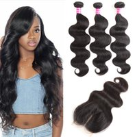 Wholesale ombre closure wefts for sale - Group buy cheap hot Brazilian virgin hair body wave human hair weave bundles with x4 Lace Closure Remy Hair Wefts