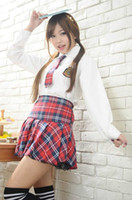 Wholesale sexy japanese women cosplay online - New sexy lingerie cosplay Dirndl Japanese School High rise JK Uniform Set British Style Long Sleeve Shirt Plaid Skirt Student