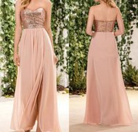 Wholesale beach sequin wedding dresses for sale - Group buy 2018 Rose Gold Sequined Bridesmaid Dresses Sweetheart Side Split A Line Long Country Maid Of Honor Gowns Beach Wedding Guest Party Dress