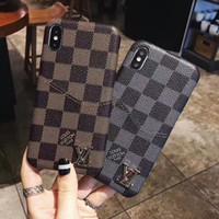 дизайн для держателя телефона оптовых-Мягкий искусственный кожаный чехол для мобильного телефона для iPhone X XS Max XR 8 8plus 7 7plus 6 6s plus Модный держатель для карты памяти Дизайн обложки мобильного телефона
